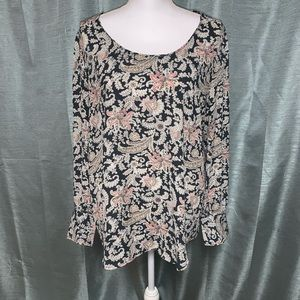 Loft wide neckline long sleeve EUC